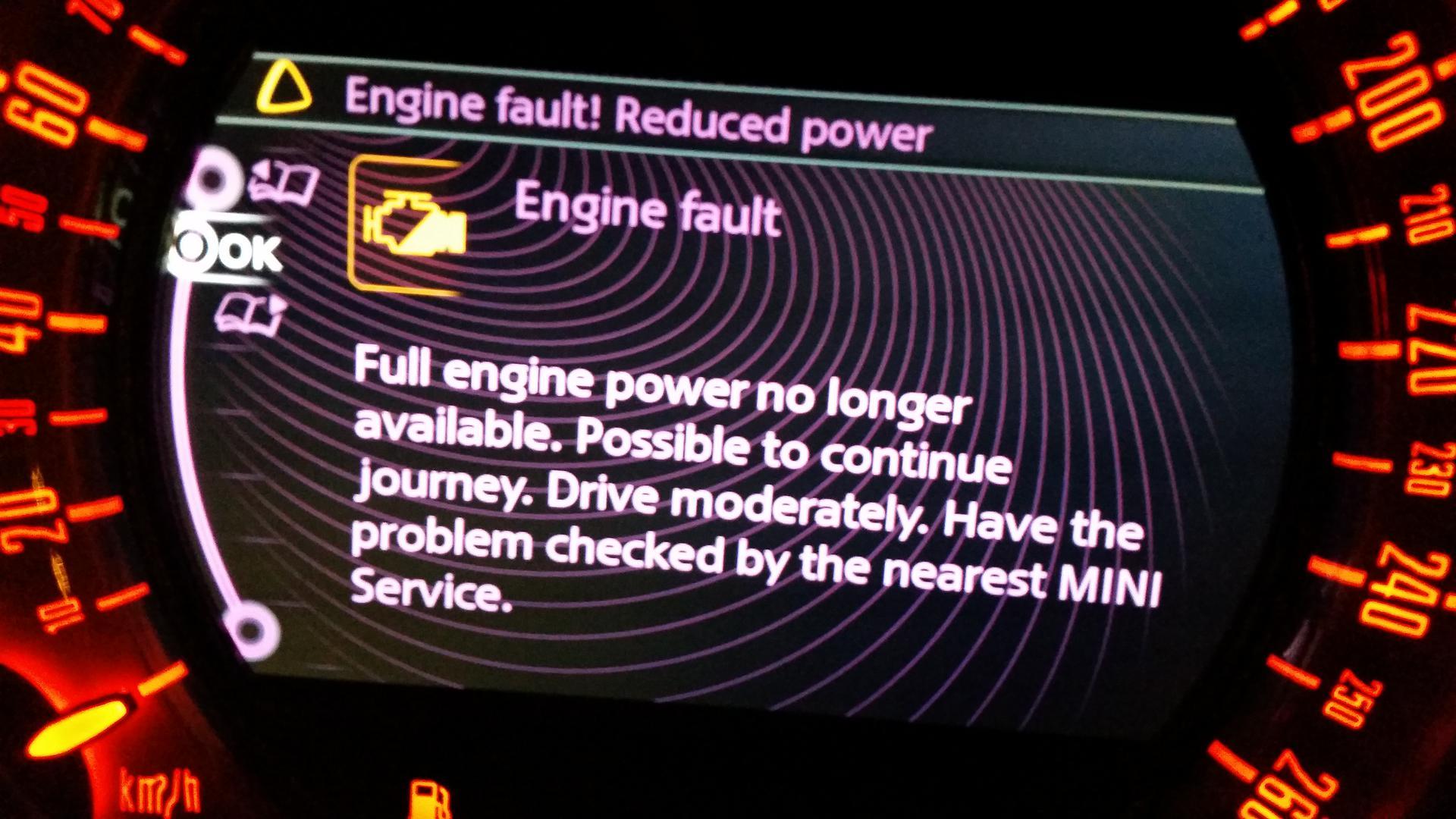 Engine Fault! Reduced Power | Mini Cooper Forum