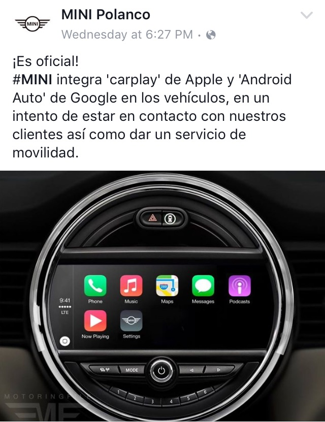 Apple CarPlay to integrate with Mini | Mini Cooper Forum