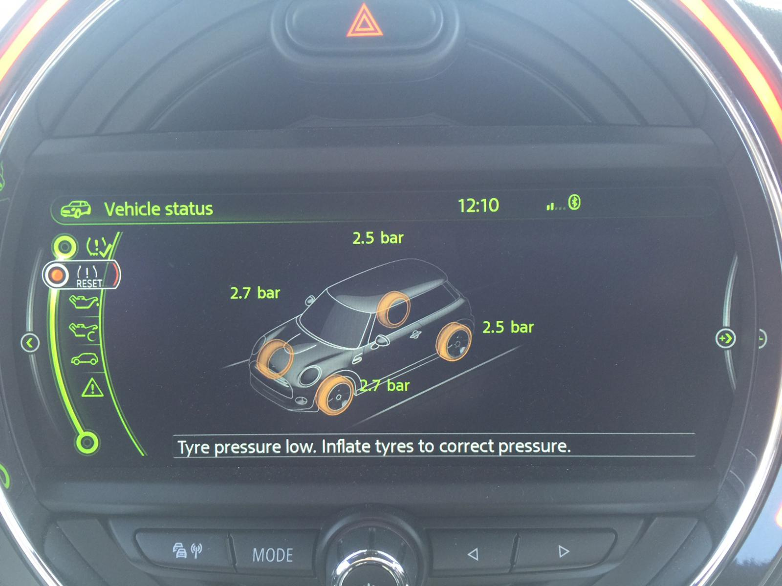 mini countryman 2013 tyre pressure